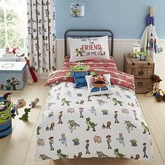 Featuring all of your favourite Toy Story characters, this reversible cot bed duvet cover set iscrafted from a soft touch polyester microfibre which is machine washable for easy care. Sizes Available: Duvet cover: x x Pillowcase: x x Toy Story Bedding, Toy Story Nursery, Toy Story Bedroom, Cot Bed Duvet Cover, Duvet Bedding, Duvet Cover Sets, Bedding Sets, Toddler Boy Toys, Toddler Rooms