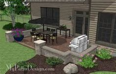 DIY Rectangular Patio Design with Seat Walls – MyPatioDesign.com