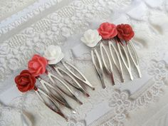 Romantic Red  Pink Ivory Resin Rose Victorian by giftforallseasons