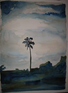 I painted this from a photograph taken by Sam Page. I believe this is Sunset Blvd., in Hollywood, CA.