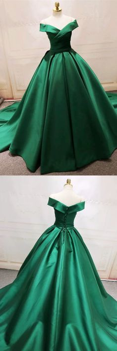 Unique Prom Dresses, Long Green Satin V-neck Ball Gowns Prom Dresses Off The Shoulder, There are long prom gowns and knee-length 2020 prom dresses in this collection that create an elegant and glamorous look Long Prom Gowns, Ball Gowns Prom, Ball Gown Dresses, Homecoming Dresses, Popular Dresses, Dresses For Teens, Evening Dresses, Fashion Dresses, Queen
