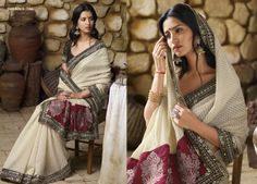 Splendid pallu suits with this cream colored brasso saree & matching unstitched blouse piece.