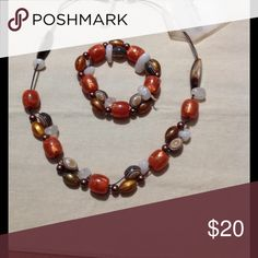 Bracelet+ Necklaces Beautiful color orange and brown Free People Jewelry Necklaces