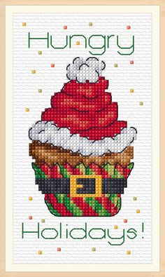 Ming MD Christmas Cupcake Hungry Holidays Designed by Maria Diaz 14 Counted Fabric Cross Stitch kit X Cupcake Cross Stitch, Xmas Cross Stitch, Cross Stitch Christmas Ornaments, Cross Stitch Needles, Cross Stitch Baby, Cross Stitch Alphabet, Simple Cross Stitch, Christmas Cross, Cross Stitching