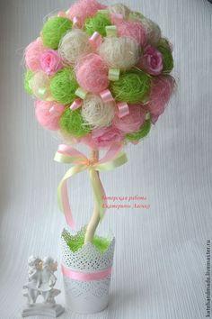 """Купить Топиарий """"Нежность"""" - розовый, зеленый, белый, кашпо, сизаль, ленты, ленты атласные, подарок"""