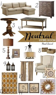 Neutral Mood Board for Living Room or Family Room