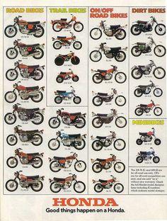 Vintage Motorcycles Classic 1974 Honda Line Up Full Line Vintage Motorcycle Poster Print Motocross Vintage, Enduro Vintage, Vintage Bikes, Vintage Honda Motorcycles, Honda Bikes, Honda Cb750, Honda Scrambler, Honda 125, Cb550