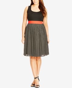 A brightly colored waistband breaks up the black and white canvas of City Chic's plus size party dress. | Cotton/elastane/viscose; lining: polyester | Hand wash | Imported | Scoop neckline  | Pullover