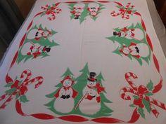 """Vintage Snowman Snowlady Christmas Calaprint Tablecloth 46"""" x 52"""""""