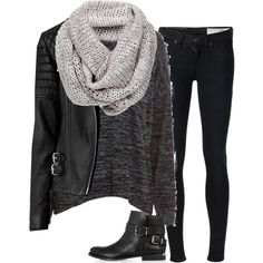 Black On Black On Grey by elise-olivia on Polyvore featuring polyvore, мода, style, rag