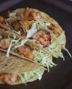 Shrimp Tacos with GARLIC & CILANTRO MAYO