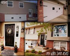 My Ugly Split-level.  Tan with black accents.  DIY shutters, Garage door accents, black railings.