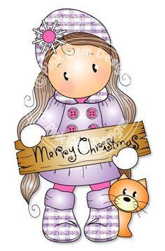 Digitale Digi buon Natale Chloe timbro. Rende di PinkGemDesigns