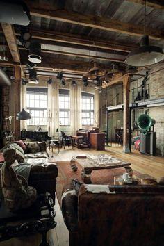 joli salon d'esprit loft avec meuble style industriel pas cher pour le salon style industriel
