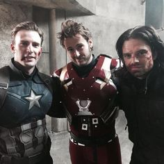 """Chris Evans and Sebastian Stan with RDJ's stand-in - filming """"Civil War"""""""