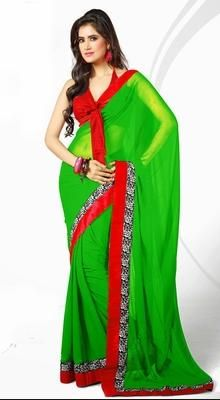 Looking charming with traditional lime green chiffon saree. It has been beautifully Enhanced with floral patch work. #DesignerSaree
