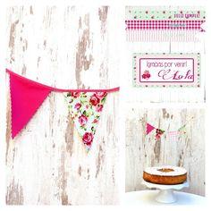 Promoción marzo! Fiesta Shabby con banderín de tela, topper de tarta e imprimibles Shabby Cumpleaños de niña perfecto. Ahorra con esta opción!