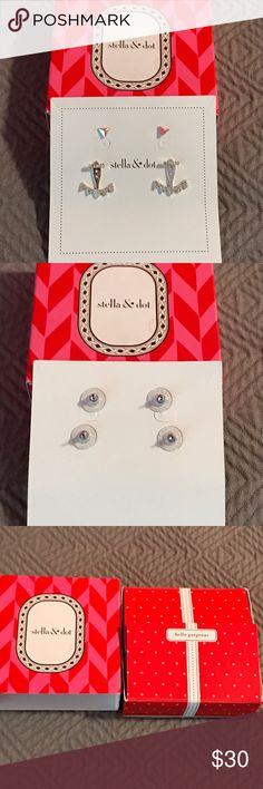 Stella & Dot Silver Earrings Stella & Dot Silver Double Set of Earrings New in Box Stella & Dot Jewelry Earrings