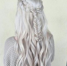 Awesome braid & silver hair by @habitsalon