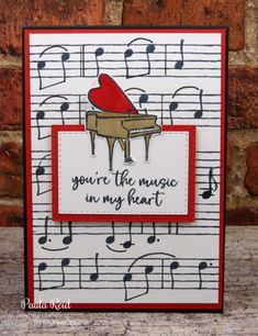 Music from the Heart – Wedding Anniversary Handmade Birthday Cards, Greeting Cards Handmade, Musical Cards, Stamping Up Cards, Heart Cards, Masculine Cards, Valentine Day Cards, Homemade Cards, Scrapbooking