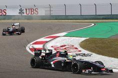 Round 3, UBS Chinese Grand Prix 2013, Qualify, Esteban Gutierrez Leads Team-Mate Nico Hulkenberg, Sauber F1 Team, On Track Action