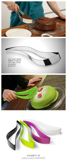 WHAT. Cut and serve perfect pieces of cake with a single motion... Awesome!