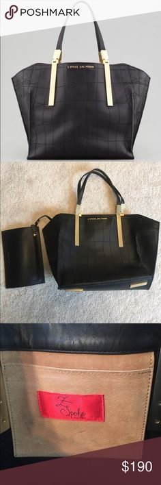 """Z Spoke Zac Posen """"Danes"""" Leather Bag Insanely gorgeous, barely used bag!  Z Spoke by Zac Posen modernizes traditional luxury, stitching this Danes shopper with a crocodile pattern and extending the hardware into striking bars. Has a detachable zip pouch. INCREDIBLY DISCOUNTED - no lowballs.  Leather with crocodile-pattern stitching. Golden hardware. Flat tote straps with bar detail, 7 1/2"""" drop. Open top; winged sides. Metal logo lettering at front.  Interior slip pocket; unlined. 11""""H x…"""