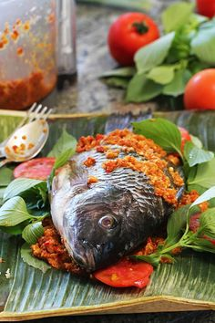 Indonesian Spicy Baked Tilapia Wrapped In Banana Leaves aka Pepes Ikan Mujair