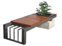 banca de metal y madera