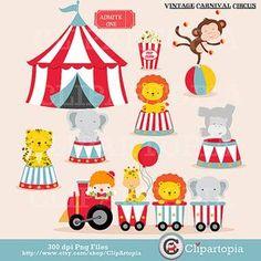 Vintage Carnival Circus Digital clipart / Animal by ClipArtopia, $5.00