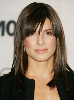 Layered shoulder length hairstyles with !BANGS! on Straight hair ~ Love these BANGS!!