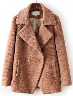 Coffee Lapel Long Sleeve Pockets Woolen Coat - Sheinside.com