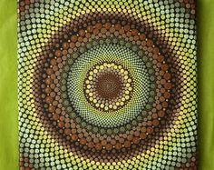 Hand painted earthy green, yellow, and brown mandala on canvas x dot pointillism art Mandala Canvas, Mandala Dots, Mandala Painting, Dot Painting, Painted Rocks, Hand Painted, Stone Art, Rock Art, Handmade Art