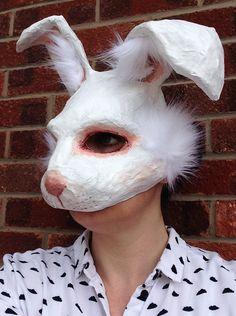 Aldo Capelli White rabbit mask from my Etsy shop https://www.etsy.com/listing/225920894/white-rabbit-mask-animal-mask-paper