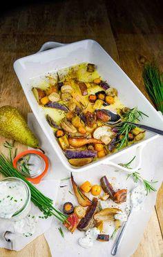stuttgartcooking: Bunter Herbst aus dem Ländle, im Ofen gebacken mit einer Schnittlauch-Creme