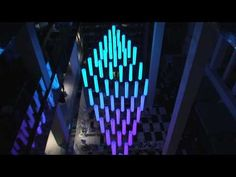 Crystal Chandelier - kinetic light sculpture with DMX winch motorized RGB led lights Light Art Installation, Interactive Installation, Rum, Mobile Sculpture, Digital Projection, Night Scenery, Digital Light, Chandelier, Kinetic Art