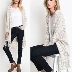 "X ""Twice Shy"" Fuzzy Fringed Oversized Cardigan Oversized fuzzy cardigan with fringe. Super comfy and fun! True to size. Available in black/white and mocha/white. This listing is for the MOCHA/WHITE. Brand new. PRICE FIRM. NO TRADES. Bare Anthology Sweaters Cardigans"