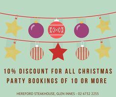 Book your Christmas Parties and Groups at the Hereford Steakhouse and receive 10% off for all groups of 10 or more.   Sit down dinners, off the restaurant menu, special plated and buffet menus, cocktail parties.  All group types catered for.  Make your booking now - phone 02 6732 2255 for all bookings and enquiries.