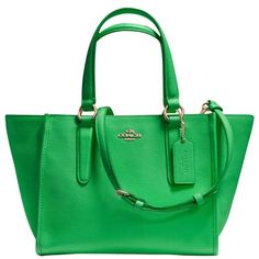 Coach Crosby Mini Leather Carryall Tote Bag , Green (875 TND) ❤ liked on Polyvore featuring bags, handbags, tote bags, green, mini tote, zippered tote, green tote, summer tote bags and cross body purse