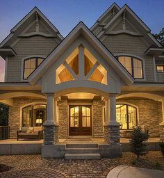 Gorgeous Gabled Dream Home Plan Photo This is the shape of the doors/windows I love, but looking for more panes french door in the center.Photo This is the shape of the doors/windows I love, but looking for more panes french door in the center. Dream House Plans, Dream Houses, My Dream Home, Unique House Plans, Nice Houses, Style At Home, House Goals, Home Fashion, Windows And Doors