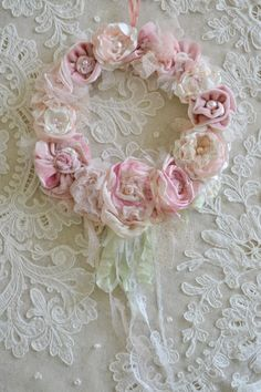 Beautiful Handmade Ribbon Work Wreath by Jennelise Rose