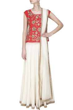 Red fully embroidered top with off white crinkled lehenga and dupatta available…