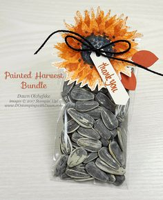 DOstamperSTARS Thursday Challenge Painted Harvest Sunflower Seeds Treat Pouch - DOstamping with Dawn, Stampin' Up! Sunflower Cards, Sunflower Baby Showers, Fall Cards, Stamping Up, Craft Fairs, Stampin Up Cards, Craft Gifts, Homemade Gifts, Cardmaking