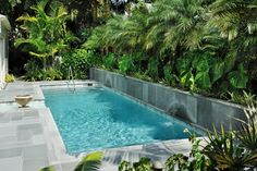 What is a lap pool? A lap pool is (typically) a swimming pool primarily built and used for fitness and health purposes. Lap pools are usually long and narrow, a Small Swimming Pools, Small Pools, Swimming Pools Backyard, Swimming Pool Designs, Lap Pools, Small Backyard Design, Small Backyard Pools, Outdoor Pool, Small Backyards