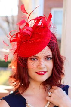 Red Fascinator with Veil Tea Party Hat Church Hat by QueenSugarBee Tea Party Attire, Tea Party Outfits, Tea Party Hats, Funky Hats, Red Hats, Crazy Hats, Wedding Hats, Red Wedding, Red Fascinator