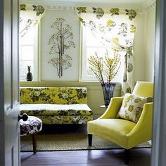 yellow living room- like the curtain style
