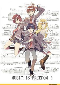 Your Lie in April / Shigatsu wa Kimi no Uso (四月は君の嘘) Sad Anime, Manga Anime, Anime Art, Otaku, Hikaru Nara, Miyazono Kaori, The Garden Of Words, Your Lie In April, You Lied