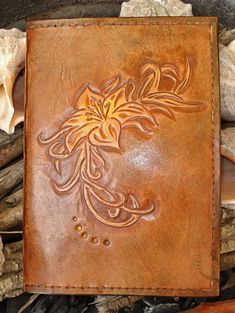 Beautiful hand tooled leather photo album: lily :)
