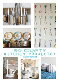 20 Crafty Kitchen Projects to spice up your kitchen!   littleredwindow.com