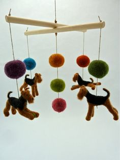 Baby Mobile Felted Airedales Bright Color Accents by sheepcreeknc